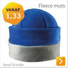 Fleece muts met logo